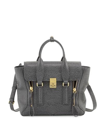 Pashli Medium Leather Satchel Bag, Ash/Charcoal
