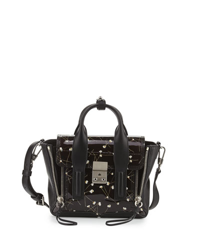 Pashli Mini Floral Satchel Bag, Black/Ivory