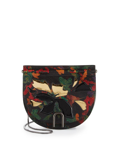 Hana Leather Chain Saddle Bag, Black/Multi/Gold