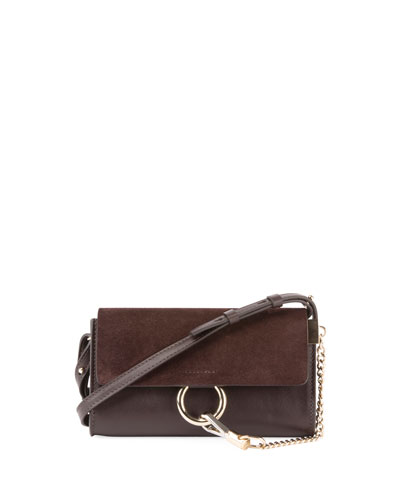 Faye Suede/Leather Wallet-on-a-Strap, Gray