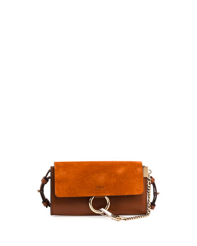 Faye Suede/Leather Wallet-on-a-Strap, Tan