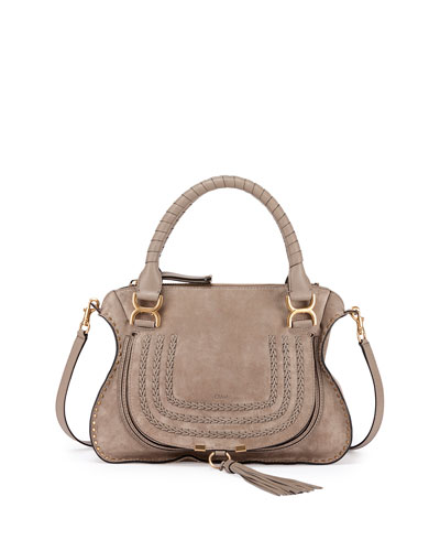 Marcie Suede Satchel Bag, Gray