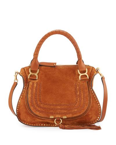 Marcie Suede Satchel Bag, Caramel