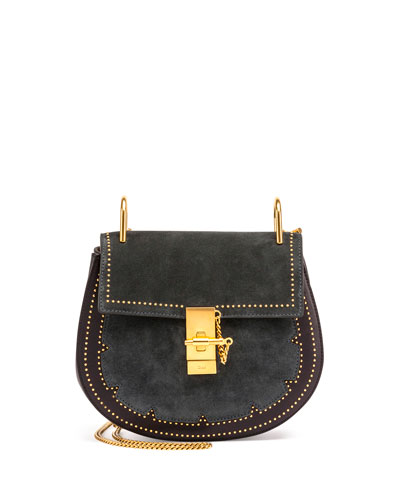Drew Small Studded Suede Shoulder Bag, Blue