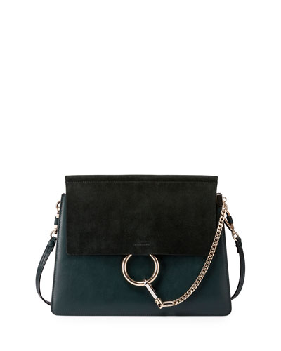 Faye Medium Flap Suede/Leather Shoulder Bag, Green