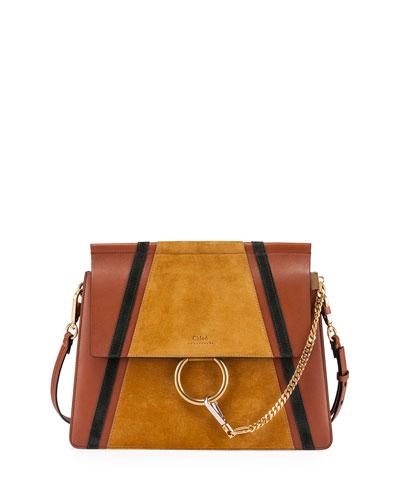 Faye Medium Patchwork Shoulder Bag, Tan