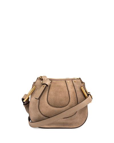Hayley Nano Suede Shoulder Bag, Gray