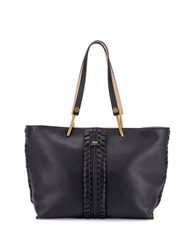 Keri Medium Leather Tote Bag, Navy