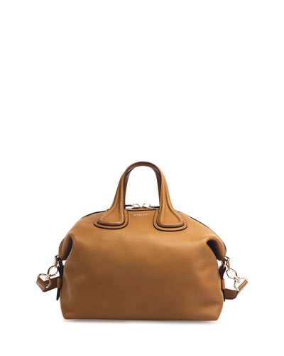 Nightingale Medium Waxy Leather Satchel Bag, Light Brown