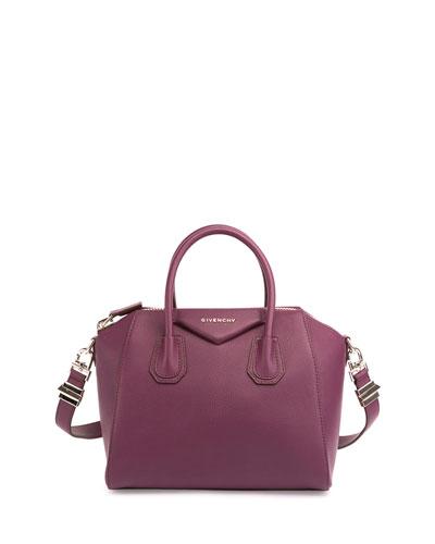 Antigona Small Sugar Goatskin Satchel Bag, Dark Purple
