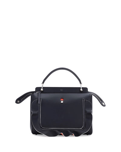 DOTCOM Wave Medium Leather Satchel Bag, Black/Orange