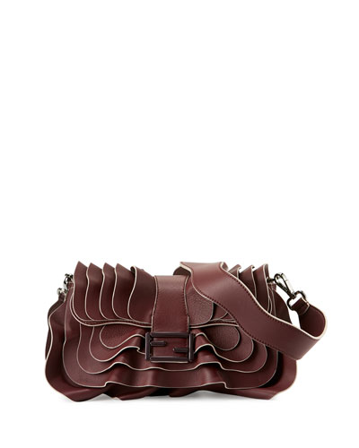 Baguette Multi-Wave Leather Bag, Bordeaux
