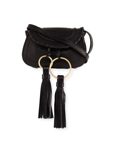 Polly Leather Crossbody Bag, Black