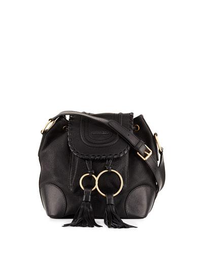 Polly Suede Flap Bucket Bag, Black