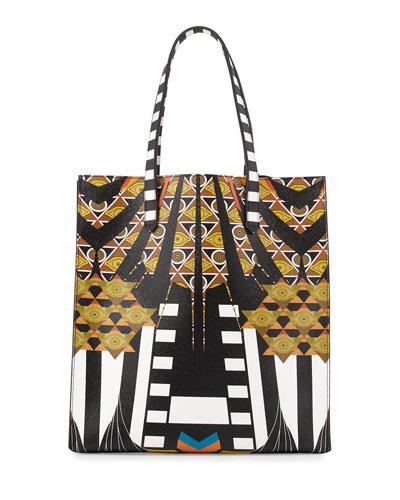 Medium Wings & Stripes Canvas Tote Bag, Black/Multi