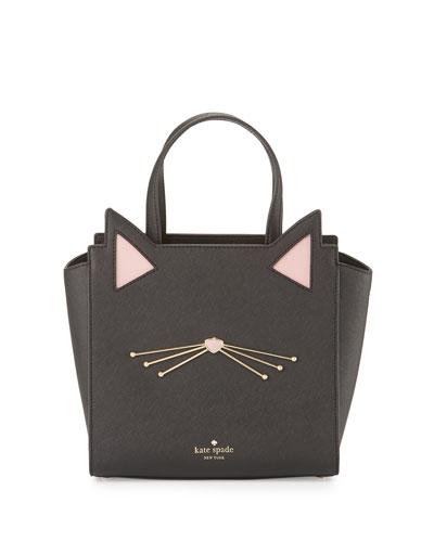 jazz things up hayden small cat tote bag, black