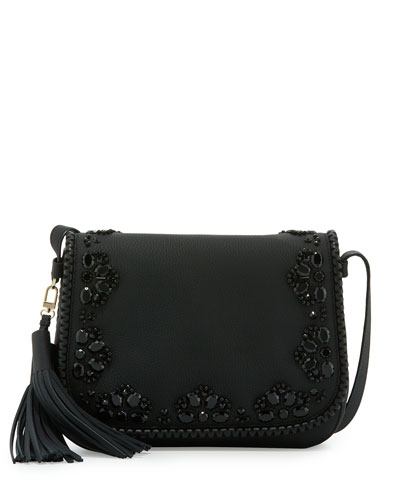 anderson way lietta leather crossbody bag, black