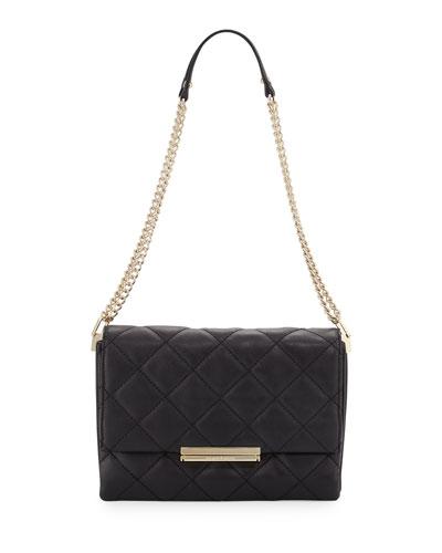 emerson place lenia quilted shoulder bag, black