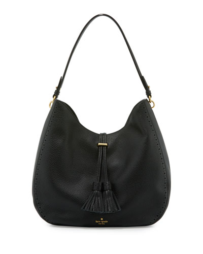 james street mason leather hobo bag, black