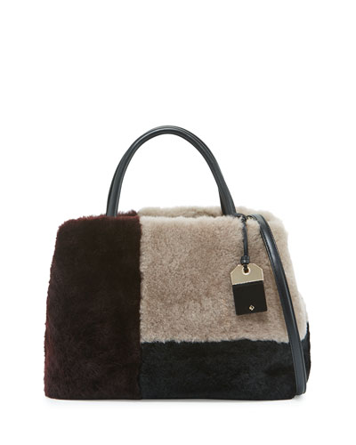 masey court sherilyn shearling fur satchel bag, multicolor