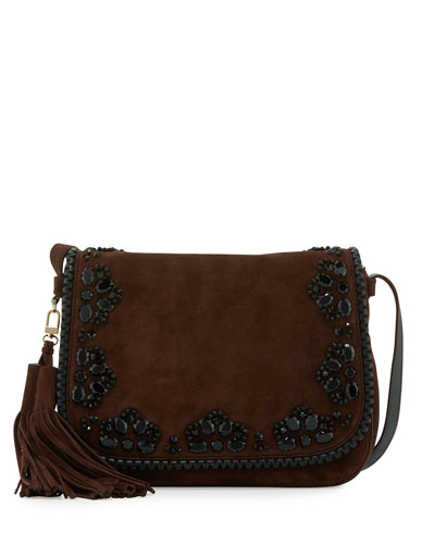 anderson way lietta suede crossbody bag, barrel brown