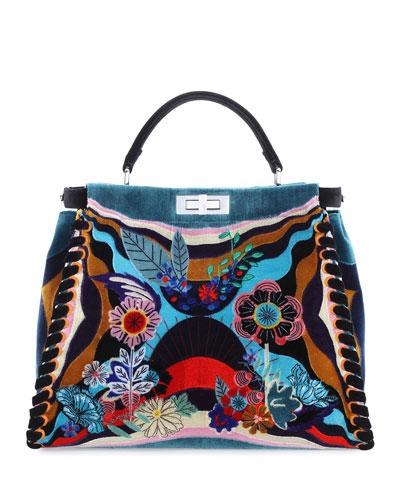Peekaboo Large Embroidered Velvet Bag, Black Multi