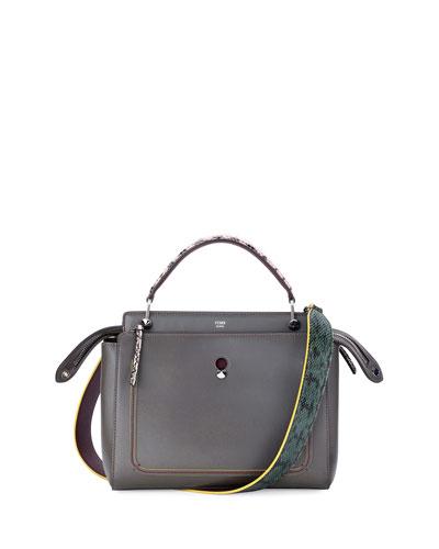 DOTCOM Medium Snake-Strap Satchel Bag, Dark Gray