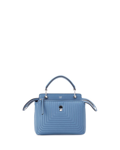 DOTCOM Mini Quilted Chain Crossbody Bag, Light Blue