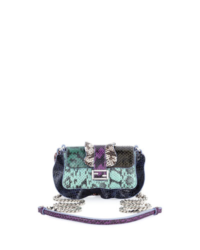 Baguette Micro Wave Crossbody Bag, Green/Teal/Blue/Purple
