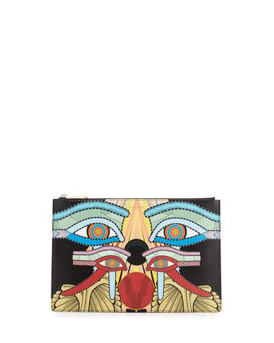 Medium Egyptian Four Eyes Pouch Bag, Multi