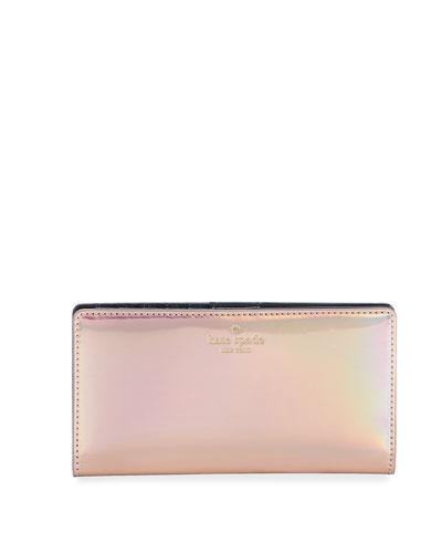 ranier lane stacy iridescent wallet, rose gold