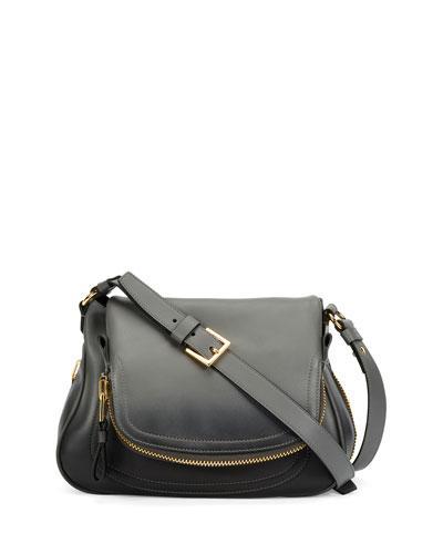 Jennifer Medium Shaded Leather Shoulder Bag, Gunmetal