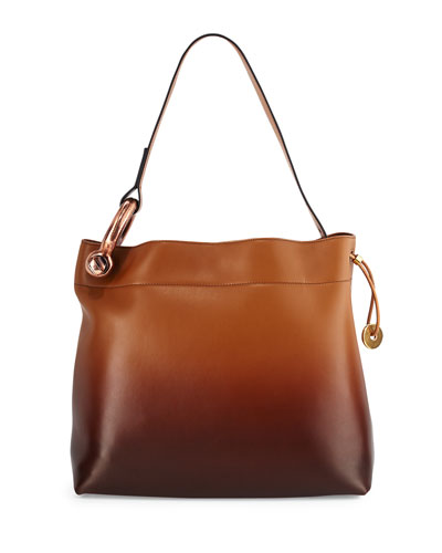 Fisherman Hook Medium Drawstring Hobo Bag, Cognac