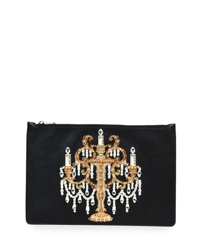 Large Leather Chandelier Pouch, Black