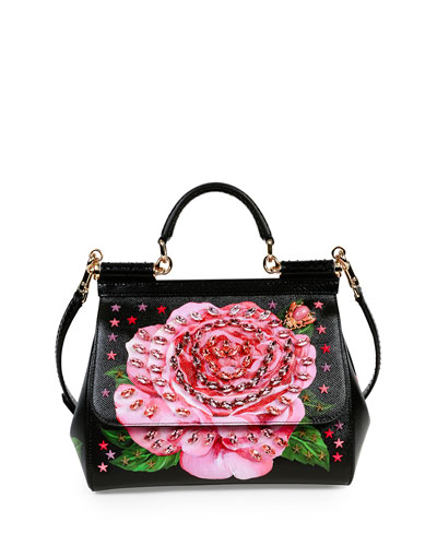 Miss Sicily Medium Leather Rose Satchel Bag
