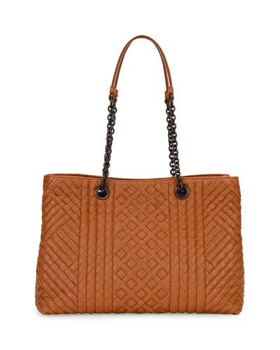 Intrecciato Medium Double-Chain Tote Bag, Camel