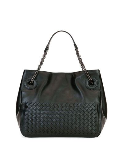 Intrecciato Chain-Handle Tote Bag, Black