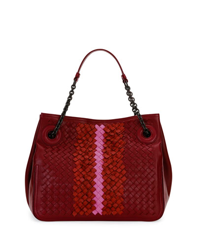 Intrecciato Chain-Handle Tote Bag, Wine Colorblock