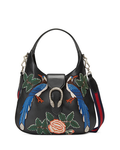 Dionysus Medium Embroidered-Birds Hobo Bag, Black/Multi