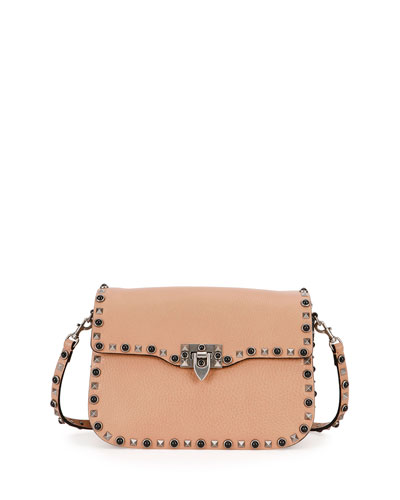 Rolling Rockstud Shoulder Bag, Beige