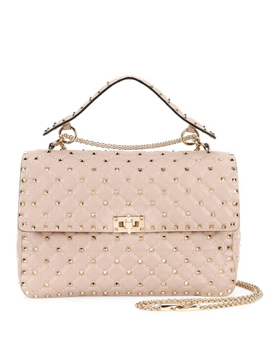 Rockstud Matelasse Large Shoulder Bag, Beige