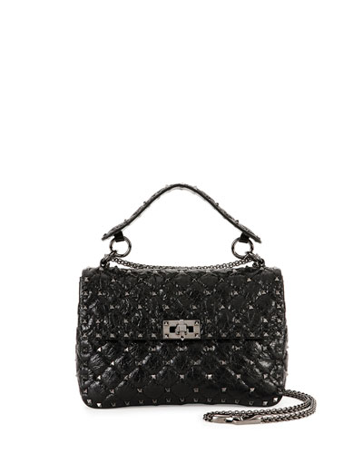 Rockstud Medium Matelasse Leather Shoulder Bag, Black