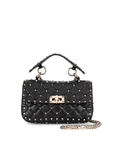 Rockstud Quilted Small Shoulder Bag, Black