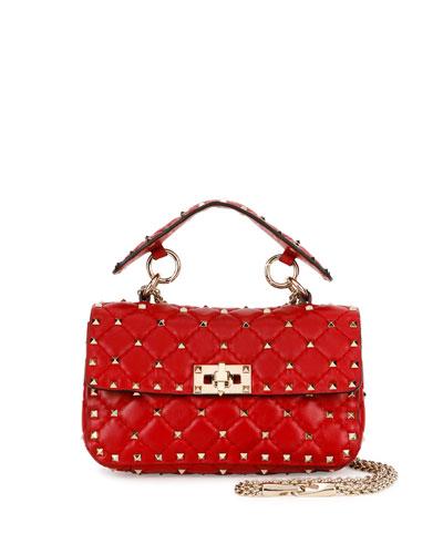 Rockstud Quilted Small Shoulder Bag, Red