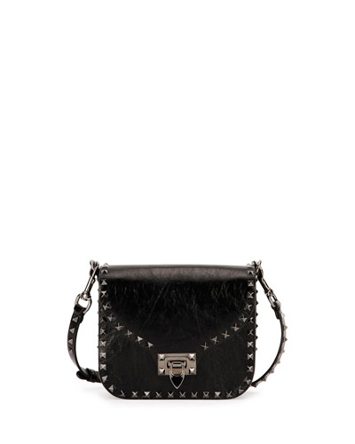 Leather Rockstud Crossbody Bag, Black