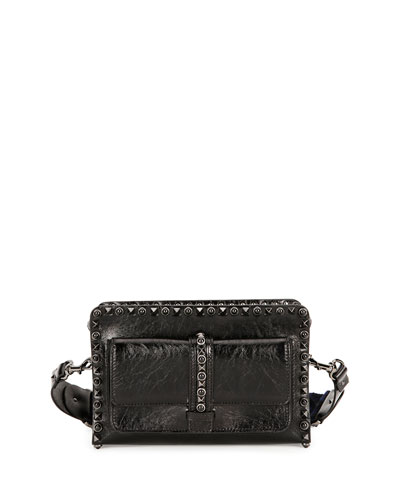 Rockstud Rolling Leather Small Shoulder Bag, Black