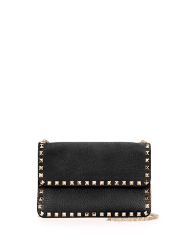 Rockstud Chain Shoulder Bag, Black