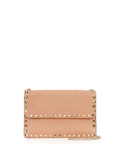 Rockstud Leather Chain Shoulder Bag, Beige