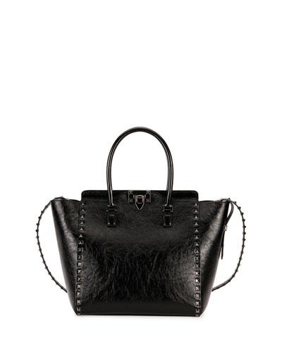 Rockstud Noir Double-Handle Tote Bag, Black