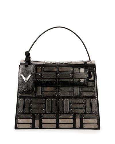 My Rockstud Leather Satchel Bag, Black